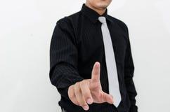 Ação da escrita do homem de negócios no fundo branco Imagens de Stock Royalty Free