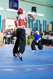 Ação da luta da vara (Silambam) Fotografia de Stock