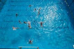 Ação da piscina do polo aquático Foto de Stock