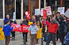 A ação da rua para as mulheres endireita em Lisboa Fotografia de Stock