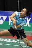 Ação da velocidade da mulher de Bélgica do Badminton Fotografia de Stock Royalty Free