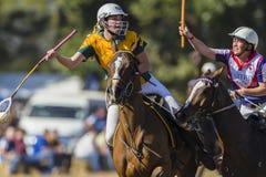 Ação das mulheres dos cavaleiros do cavalo do campeonato do mundo de PoloCrosse Imagens de Stock