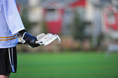 Ação de espera do jogador do Lacrosse Fotografia de Stock
