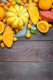 Ação de graças Autumn Background, variedade de frutas e legumes alaranjadas no fundo de madeira escuro com espaço livre para o te Imagens de Stock