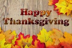 Ação de graças feliz com folhas da queda Fotografia de Stock Royalty Free