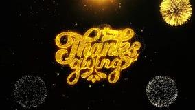 A ação de graças feliz deseja o cartão de cumprimentos, convite, fogo de artifício da celebração dado laços