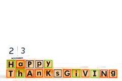 Ação de graças feliz do ` da inscrição ` Imagens de Stock Royalty Free