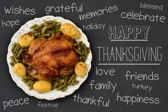 Ação de graças feliz do peru e do texto do assado Imagem de Stock