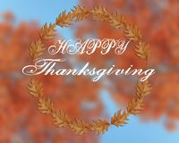 Ação de graças feliz escrita no fundo borrado Imagem de Stock Royalty Free