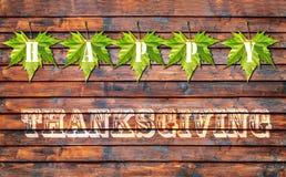 Ação de graças feliz, fundo de madeira velho do assoalho Fotografia de Stock Royalty Free