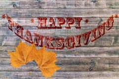 Ação de graças feliz, fundo de madeira velho do assoalho Fotos de Stock Royalty Free