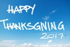 Ação de graças feliz 2017 no céu Fotografia de Stock