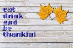 Ação de graças feliz no fundo de madeira Fotografia de Stock Royalty Free
