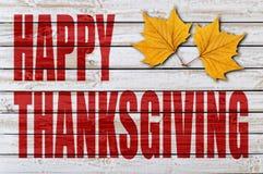 Ação de graças feliz no fundo de madeira Imagens de Stock Royalty Free