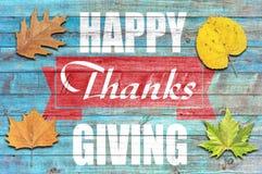 Ação de graças feliz no fundo de madeira azul Fotos de Stock Royalty Free