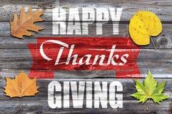 Ação de graças feliz no fundo de madeira velho Fotografia de Stock
