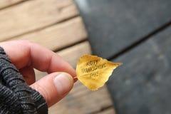 Ação de graças feliz - text contra o fundo de madeira rústico Fotos de Stock Royalty Free