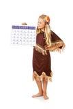 Ação de graças: Menina indiana com calendário do novembro de 2015 Imagens de Stock Royalty Free