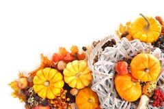 Ação de graças na cesta do rattan Fotografia de Stock