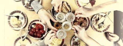 Ação de graças, Natal Um jantar de gala com família Fotografia de Stock Royalty Free