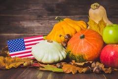 Ação de graças nos estados Abóboras da colheita do outono, maçãs nos EUA Bandeira americana Imagens de Stock Royalty Free