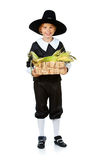 Ação de graças: Peregrino do menino que guarda o milho na cesta Foto de Stock Royalty Free