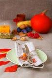 Ação de graças tradicional que janta o ajuste de lugar Imagem de Stock Royalty Free
