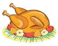 Ação de graças Turquia. Alimento do vetor isolado no branco Fotos de Stock