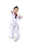 Ação de Taekwondo por um menino bonito asiático Imagem de Stock Royalty Free