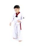 Ação de Taekwondo por um menino bonito asiático Fotos de Stock