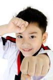 Ação de Taekwondo por um menino bonito asiático Fotografia de Stock Royalty Free
