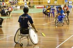 Ação do Badminton da cadeira de rodas Imagens de Stock Royalty Free