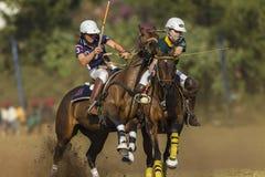 Ação do cavaleiro do campeonato do mundo de PoloCrosse Foto de Stock Royalty Free