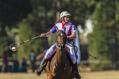 Ação do cavalo do jogador de PoloCrosse Imagem de Stock