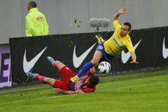 Ação do futebol - equipamento duro Fotografia de Stock Royalty Free