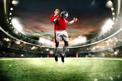 Ação do futebol no estádio Fotografia de Stock