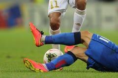 Ação do futebol ou do futebol Foto de Stock
