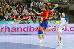 Ação do handball Fotografia de Stock