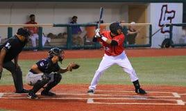 Ação do jogo de basebol Fotografia de Stock Royalty Free