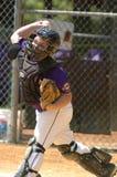 Ação do jogo de basebol da liga júnior Imagens de Stock Royalty Free