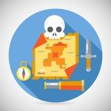 Ação do mapa do RPG do jogo da aventura do tesouro do pirata Fotos de Stock