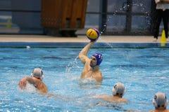 Ação do polo aquático - jogando a bola Fotos de Stock Royalty Free