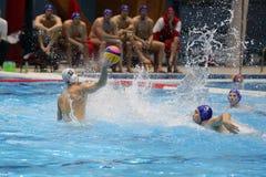 Ação do polo aquático - jogando a bola Foto de Stock Royalty Free