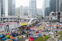 Ação do protesto com cidade da barraca Imagens de Stock Royalty Free
