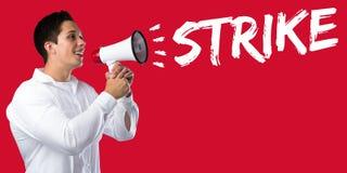A ação do protesto da greve demonstra trabalhos, negócio c dos empregados do trabalho Foto de Stock