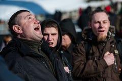 A ação do protesto em Kyiv central Imagens de Stock Royalty Free