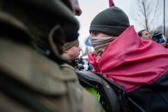 Ação do protesto sob a residência de Petro Poroshenko Foto de Stock Royalty Free