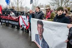 Ação do protesto sob a residência de Petro Poroshenko Foto de Stock