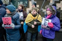 Ação do protesto sob a residência de Petro Poroshenko Fotografia de Stock Royalty Free