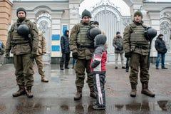Ação do protesto sob a residência de Petro Poroshenko Imagem de Stock